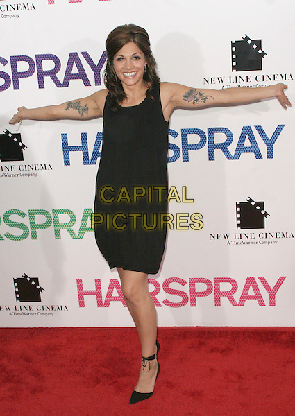 "AIMEE ALLEN.""Hairspray"" New York Premiere.at the Ziegfeld Theater, New York, NY, USA, .July 16, 2007..full length black dress tattoos arms out.CAP/LNC/JOS.©LNC/Capital Pictures."