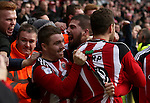 Kieron Freeman of Sheffield United celebrates with fans after scoring his teams first goal of the game during the English Football League One match at Bramall Lane, Sheffield. Picture date: December 31st, 2016. Pic Jamie Tyerman/Sportimage