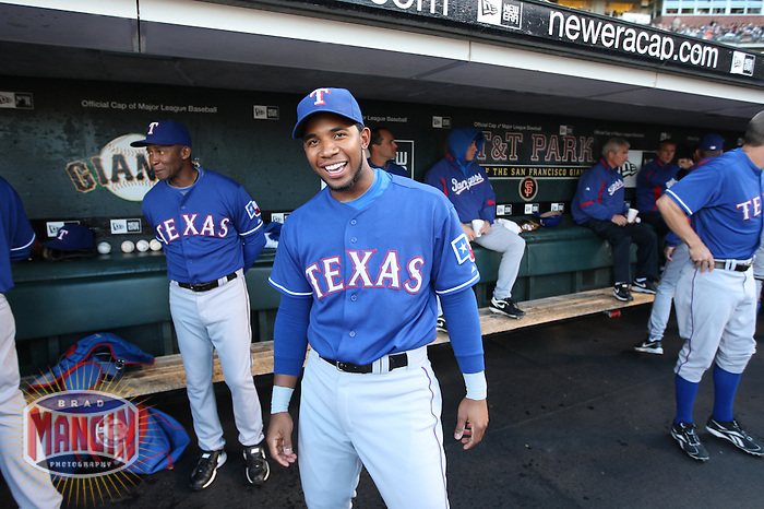 SAN FRANCISCO - JUNE 20:  Elvis Andrus of the Texas Rangers stands in the dugout before the game against the San Francisco Giants at AT&T Park in San Francisco, California on Saturday, June 20, 2009.  The Giants defeated the Rangers 2-1.  Photo by Brad Mangin