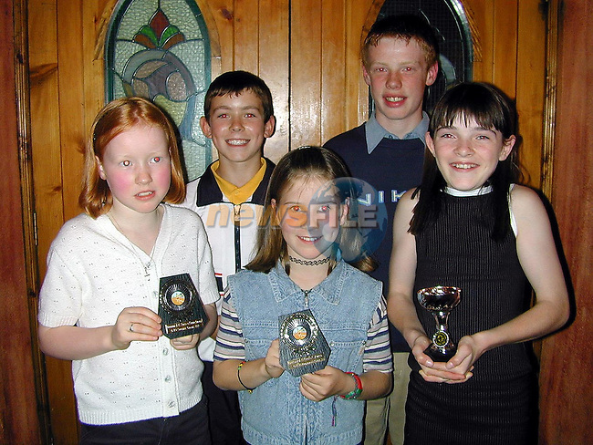 Siobhan Giggins, Track and Field award, Mark Hoey, U-12 Track and Field Athlethe of the Year, Brona McGrane, Cross Country award, Ciaran Murphy, Most Improved Athlethe of the Year and Valene McMullen, dedication award at the Dunleer A.C. awards night in The Crowing Cock..Picture Paul Mohan Newsfile