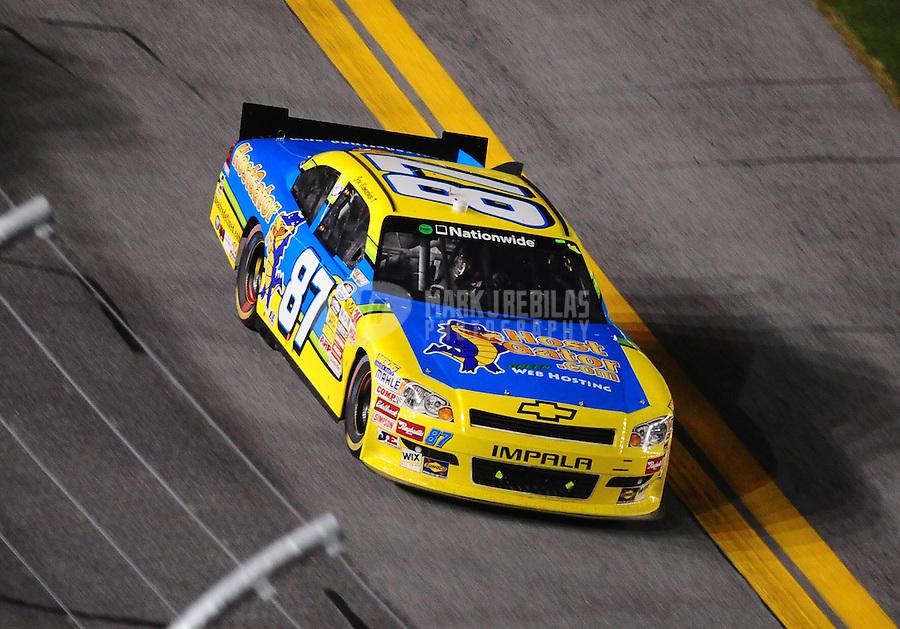 Jul. 2, 2010; Daytona Beach, FL, USA; NASCAR Nationwide Series driver Joe Nemechek (87) during the Subway Jalapeno 250 at Daytona International Speedway. Mandatory Credit: Mark J. Rebilas-