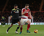Calum Chambers of Middlesbrough chased by Diego Costa of Chelsea during the English Premier League match at the Riverside Stadium, Middlesbrough. Picture date: November 20th, 2016. Pic Simon Bellis/Sportimage