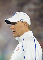 Jan. 4, 2010; Glendale, AZ, USA; Boise State Broncos assistant head coach Brent Pease against the TCU Horned Frogs in the 2010 Fiesta Bowl at University of Phoenix Stadium. Boise State defeated TCU 17-10. Mandatory Credit: Mark J. Rebilas-