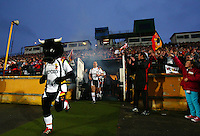 PICTURE BY VAUGHN RIDLEY/SWPIX.COM - Rugby League - Super League - Bradford Bulls v Leeds Rhinos - Odsal, Bradford, England - 06/04/12 - Bradford's Bullman and Matt Diskin lead the team out of the tunnel at Odsal, possibly for the last time.