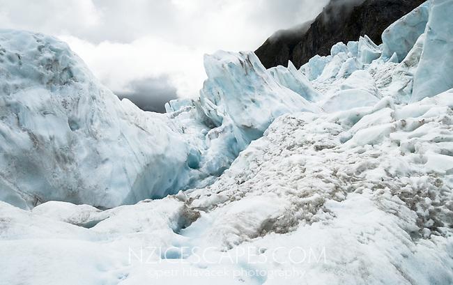 Large ice blocks on Franz Josef Glacier, Westland Tai Poutini National Park, West Coast, UNESCO World Heritage Area, New Zealand, NZ