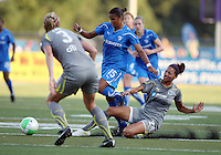 Estelle Johnson #24 of the Philadelphia Independence pokes the ball away from Fabiana #15 of the Boston Breakers during a WPS match at John A. Farrell Stadium on August 29 2010, in West Chester, PA. Breakers won 2-1.
