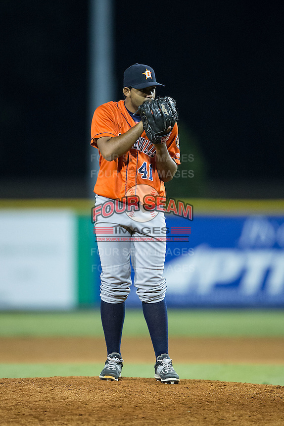 Greeneville Astros relief pitcher Edgardo Sandoval (41) looks to his catcher for the sign against the Burlington Royals at Burlington Athletic Park on August 29, 2015 in Burlington, North Carolina.  The Royals defeated the Astros 3-1. (Brian Westerholt/Four Seam Images)