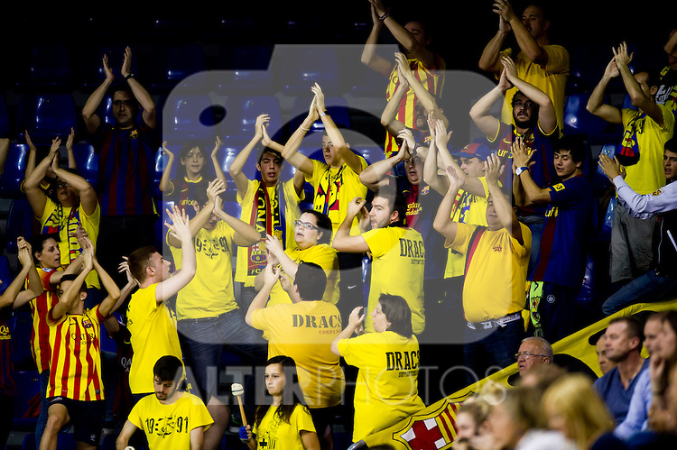 FC Barcelona's supporters during the Liga Asobal 2013-2014 match FC Barcelona vs Frigorificos del Morrazo at the Palau Blaugrana on November 9, 2013 in Barcelona, Spain. (ALTERPHOTOS/Alex Caparros)
