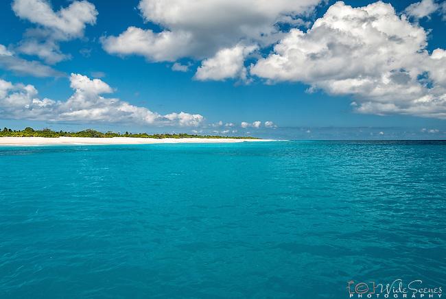 The pristine remote coastline of Kiritimati Island in Kiribati