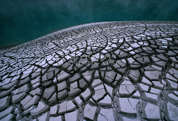 Dried mud patterns at Waimangu thermal area. Bay of Plenty New Zealand.
