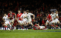 Photo: Richard Lane/Richard Lane Photography. Wales v England. RBS 6 Nations Championship. 16/03/2013. England's Geoff Parling attacks.