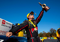 Oct 14, 2019; Concord, NC, USA; NHRA pro stock driver Deric Kramer celebrates after winning the Carolina Nationals at zMax Dragway. Mandatory Credit: Mark J. Rebilas-USA TODAY Sports