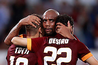 Calcio, Serie A: Roma vs ChievoVerona. Roma, stadio Olimpico, 18 ottobre 2014.<br /> Roma's Francesco Totti, left, celebrates with teammates Maicon, center, and Mattia Destro, after scoring on a penalty kick during the Italian Serie A football match between Roma and ChievoVerona at Rome's Olympic stadium, 18 October 2014.<br /> UPDATE IMAGES PRESS/Isabella Bonotto