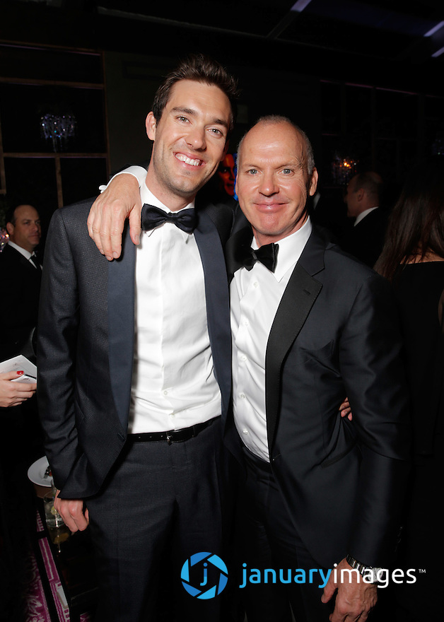 Sean Douglas and Michael Keaton are seen at FOX's 72nd annual Golden Globe Awards Party at the Beverly Hilton Hotel on Sunday, Jan. 11, 2015, in Beverly Hills, Calif. (Photo by Todd Williamson/Invision for Fox Searchlight/AP Images)