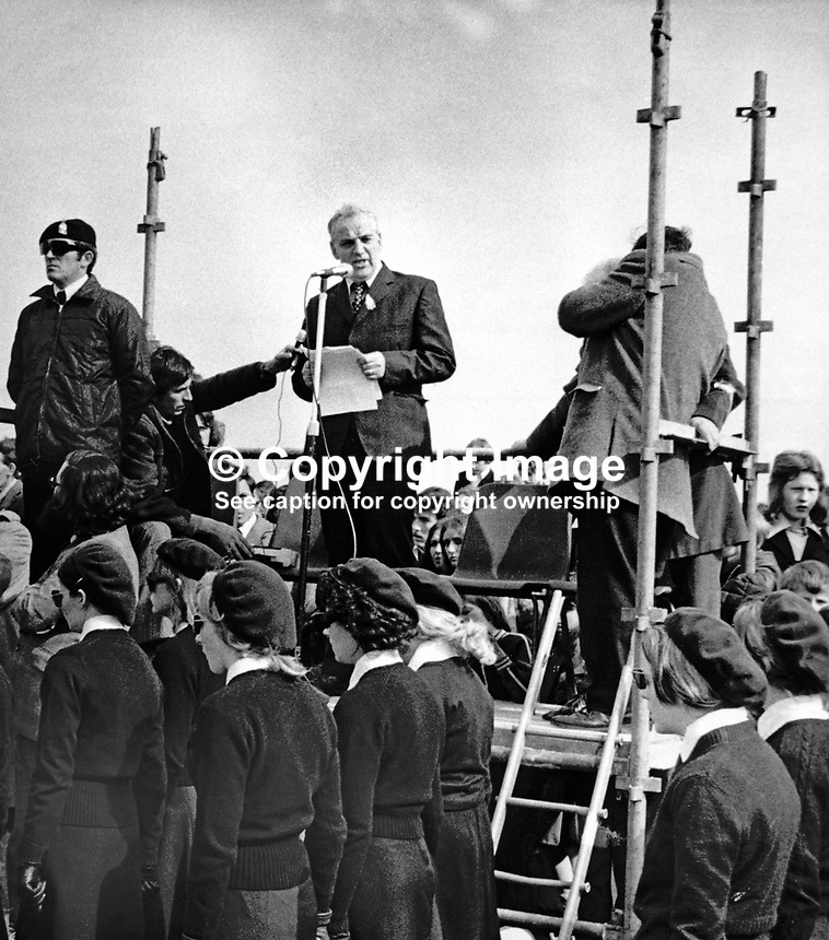 Provisional IRA leader, Seamus Twomey, giving the address at the annual Easter Rising commemoration ceremony at Milltown Cemetery, Belfast, N Ireland. 1975033001ST1.<br />