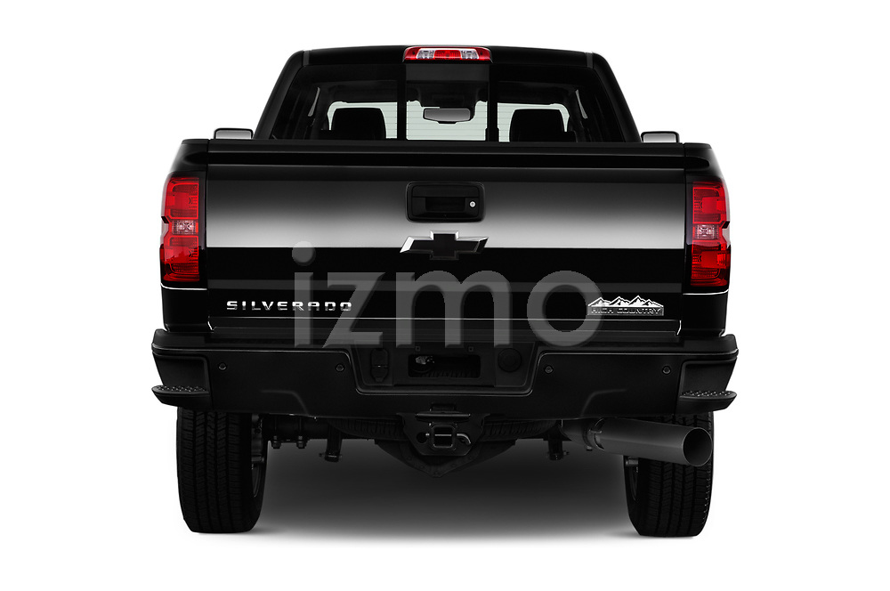 Straight rear view of 2017 Chevrolet Silverado-2500Hd High-Country-Crew-LWB 4 Door Pickup Rear View  stock images