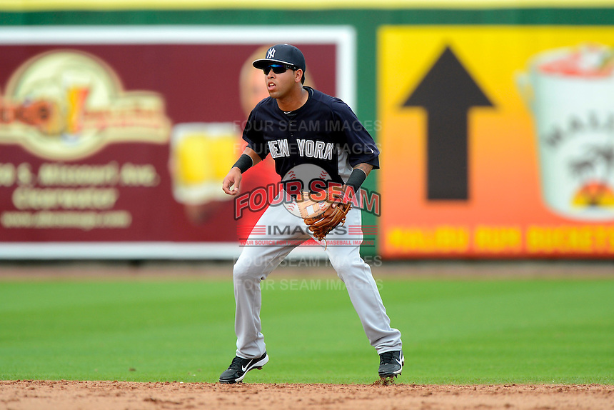 New York Yankees shortstop Cito Culver #90 during a Spring Training game against the Philadelphia Phillies at Bright House Field on February 26, 2013 in Clearwater, Florida.  Philadelphia defeated New York 4-3.  (Mike Janes/Four Seam Images)