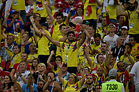 KAZAN - RUSIA, 24-06-2018: Hinchas de Colombia animan a su equipo durante partido de la primera fase, Grupo H, entre Polonia y Colombia por la Copa Mundial de la FIFA Rusia 2018 jugado en el estadio Kazan Arena en Kazán, Rusia. / Fans of Colombia cheer for their team during the match between Polonia and Colombia of the first phase, Group H, for the FIFA World Cup Russia 2018 played at Kazan Arena stadium in Kazan, Russia. Photo: VizzorImage / Julian Medina / Cont