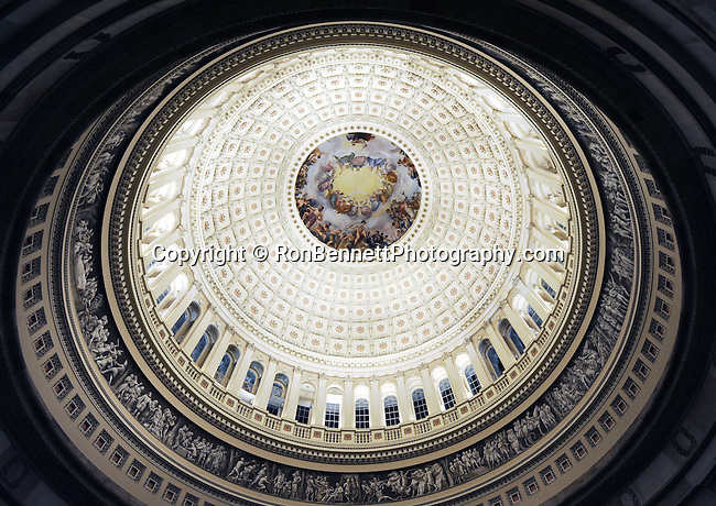 """Rotunda of US Capitol Washington DC, Rotunda, United States Capitol Washington D.C., United States Capital and legislature, Federal government of the United States of America Washington D.C., National Mall, Capitol Hill, Capitol, Capital, quadrants of the District, East and West side of the Capitol 'fronts,"""" East side of Capitol side to arrive for visitors, American Neoclassicism, Architect William Thornton, United States Constitution ratification 1789, L'Enfant, surrounding area of Washington DC, US Capitol, Capitol, United States Congress, Washington, D.C. fine art photography by Ron Bennett (c). Copyright,  Washington DC, District, DC, capital, Potomac River, Washington Metropolitan, metropolitan area, federal district, federal government of USA, US Congress, White House, National Mall, Politics in the United States, Presidential, Federal Republic, united States Congress, powers, Judicial Power, House of Representatives, US Senate, Constitution, federal law, Democratic Party, Republican party, two party system, Fine Art Photography by Ron Bennett, Fine Art, Fine Art photo, Art Photography, Bennett Photography, Bennett, award winning photography,"""