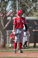Cincinnati Reds second baseman Nick Senzel (79) during a Minor League Spring Training game against the Chicago White Sox at the Cincinnati Reds Training Complex on March 28, 2018 in Goodyear, Arizona. (Zachary Lucy/Four Seam Images)