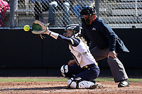 DURHAM, NC - FEBRUARY 29: Shelby Grimm #6 of the University of Notre Dame catches a pitch during a game between Notre Dame and Duke at Duke Softball Stadium on February 29, 2020 in Durham, North Carolina.