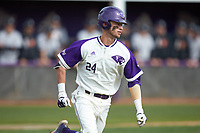 Conner Dunbar (24) of the High Point Panthers hustles down the first base line against the Campbell Camels at Williard Stadium on March 16, 2019 in  Winston-Salem, North Carolina. The Camels defeated the Panthers 13-8. (Brian Westerholt/Four Seam Images)