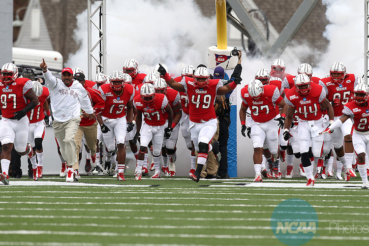 15 DEC 2012:  The Winston-Salem State Rams race onto the field prior to the Division II Men's Football Championship held at Braly Municipal Stadium in Florence, AL.  Valdosta State defeated Winston-Salem 35-7 to win the national title.  Tim Clark/NCAA Photos