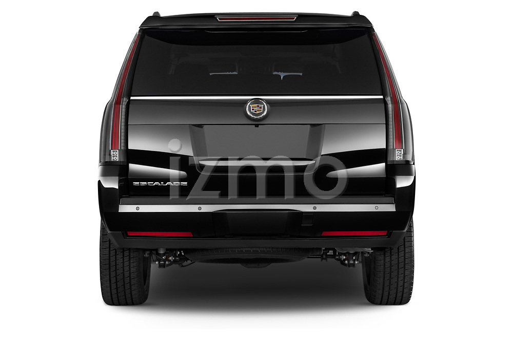 Straight rear view of a 2015 Cadillac Escalade ESV 2WD Luxury 5 Door SUV Rear View  stock images