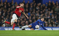 Chelsea's Eden Hazard and Manchester United's Nemanja Matic<br /> <br /> Photographer Rob Newell/CameraSport<br /> <br /> Emirates FA Cup Fifth Round - Chelsea v Manchester United - Monday 18th February - Stamford Bridge - London<br />  <br /> World Copyright © 2019 CameraSport. All rights reserved. 43 Linden Ave. Countesthorpe. Leicester. England. LE8 5PG - Tel: +44 (0) 116 277 4147 - admin@camerasport.com - www.camerasport.com