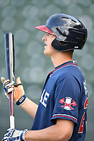 Infielder Griffin Benson (23) of the Rome Braves during batting practice before a game against the Greenville Drive on Friday, April 13, 2018, at Fluor Field at the West End in Greenville, South Carolina. Rome won, 10-6. (Tom Priddy/Four Seam Images)