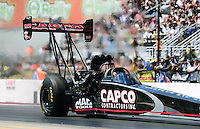 Sept. 15, 2012; Concord, NC, USA: NHRA top fuel dragster driver Steve Torrence during qualifying for the O'Reilly Auto Parts Nationals at zMax Dragway. Mandatory Credit: Mark J. Rebilas-