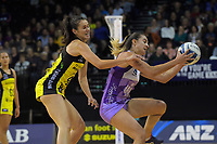 Holly Fowler takes a pass under pressure from Ameliaranne Ekanasio during the ANZ Premiership netball match between the Central Pulse and Northern Stars at the TSB Bank Arena in Wellington, New Zealand on Monday, 13 May 2019. Photo: Dave Lintott / lintottphoto.co.nz