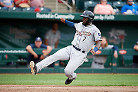 San Antonio Missions right fielder Franmil Reyes (7) slides home during a game against the Springfield Cardinals on June 4, 2017 at Hammons Field in Springfield, Missouri.  San Antonio defeated Springfield 6-1.  (Mike Janes/Four Seam Images)