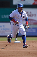 Iowa Cubs Daniel Vogelbach (20) runs to third base during the game against the New Orelans Zephyrs at Principal Park on April 13, 2016 in Des Moines, Iowa.  The Cubs won 9-5 .  (Dennis Hubbard/Four Seam Images)