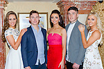 James O'Donoghue and Kerry minor winning captain Liam Kearney with contestants Síle Reidy Ballymac, Sarah Jane Taylor Spa and Clodagh Moore Tralee at the Miss Kerry selection in the Plaza Hotel Killarney on Saturday night