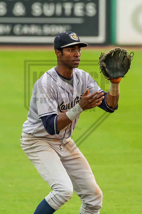 Kane County Cougars shortstop Manny Jefferson (5) during a Midwest League game against the Wisconsin Timber Rattlers on June 11, 2017 at Fox Cities Stadium in Appleton, Wisconsin.  Kane County defeated Wisconsin 6-4. (Brad Krause/Krause Sports Photography)