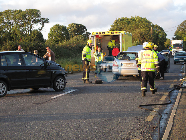 Lucky escape for the occupants of two vehicles at Matthews Lane Duleek Road Junction, Fire service units from Drogheda Attended the scene and the occupants were removed to our lady of lourdes hospital in Drogheda..Photo: Fran Caffrey/www.newsfile.ie...