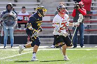 College Park, MD - April 1, 2017: Maryland Terrapins Dylan Maltz (25) runs with the ball during game between Michigan and Maryland at  Capital One Field at Maryland Stadium in College Park, MD.  (Photo by Elliott Brown/Media Images International)