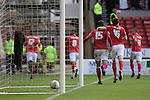 Nottingham Forest players celebrating striker David McGoldrick opening goal at the City Ground, Nottingham as Forest take on visitors Ipswich Town in an Npower Championship match. Forest won the match by two goals to nil in front of 22,935 spectators, with McGoldrick scoring the first goal.