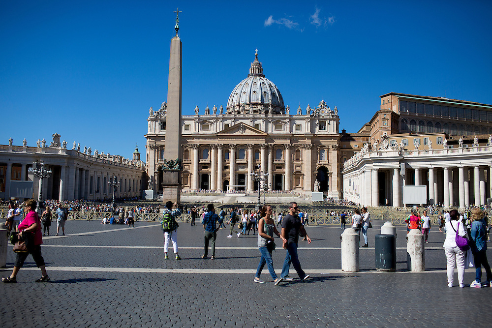 The outside of St. Peter's Basilica is seen during a tour of the Vatican on Thursday, Sept. 24, 2015. (Photo by James Brosher)
