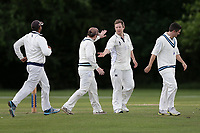 R Rayner of Billericay celebrates taking the wicket of R Saunders during Hornchurch CC (batting) vs Billericay CC, Shepherd Neame Essex League Cricket at Harrow Lodge Park on 8th June 2019