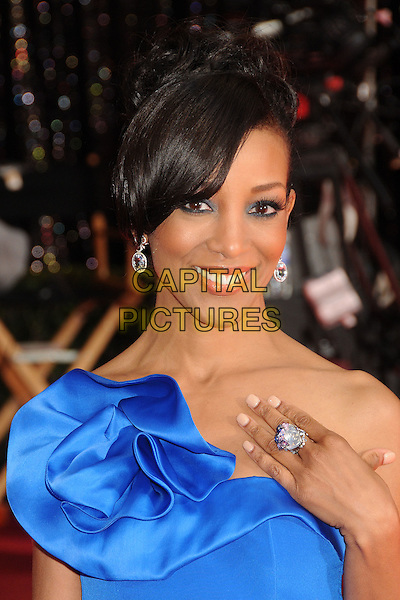 SHAUN ROBINSON .83rd Annual Academy Awards - Arrivals held at the Kodak Theatre,  Hollywood, California, USA, 27th February 2011..oscars portrait headshot hand earrings smiling beauty ring one shoulder blue  strapless .CAP/ADM/BP.©Byron Purvis/AdMedia/Capital Pictures.
