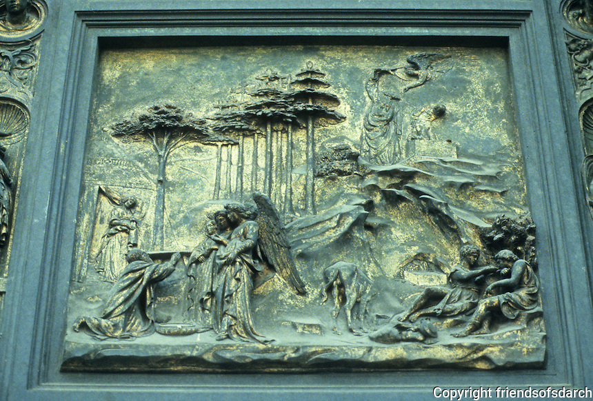 Florence: East Door, Baptistry. Lorenzo Ghiberti, 1378-1445. Bronze relief of Abraham, the Sacrifice of Isaac. Photo '83.