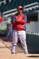 Peoria Chiefs pitching coach Dernier Orozco (22) in the bullpen before against the Lansing Lugnuts on June 6, 2015 at Cooley Law School Stadium in Lansing, Michigan.  Lansing defeated Peoria 6-2.  (Mike Janes/Four Seam Images)