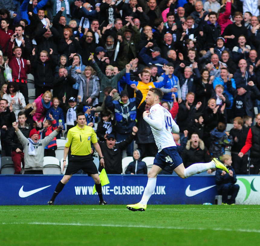 Preston North End's Joe Garner celebrates scoring his sides equalising goal to make the score 1-1<br /> <br /> Photographer Chris Vaughan/CameraSport<br /> <br /> Football - The Football League Sky Bet League One Play-Off First Leg - Preston North End v Rotherham United - Saturday 10th May 2014 - Deepdale - Preston<br /> <br /> &copy; CameraSport - 43 Linden Ave. Countesthorpe. Leicester. England. LE8 5PG - Tel: +44 (0) 116 277 4147 - admin@camerasport.com - www.camerasport.com