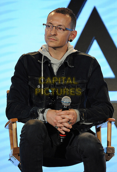 HOLLYWOOD, CA - MARCH 4: Chester Bennington of Linkin Park during a Live Nation press conference at Milk Studio in Hollywood, California to announce the &quot;Carnivors Tour&quot;. The tour begins on August 8 in West Palm Beach and will feature Linkin Park, 30 Seconds to Mars, and AFI. <br /> CAP/MPI<br /> &copy;Micelotta/PG/MediaPunch/Capital Pictures