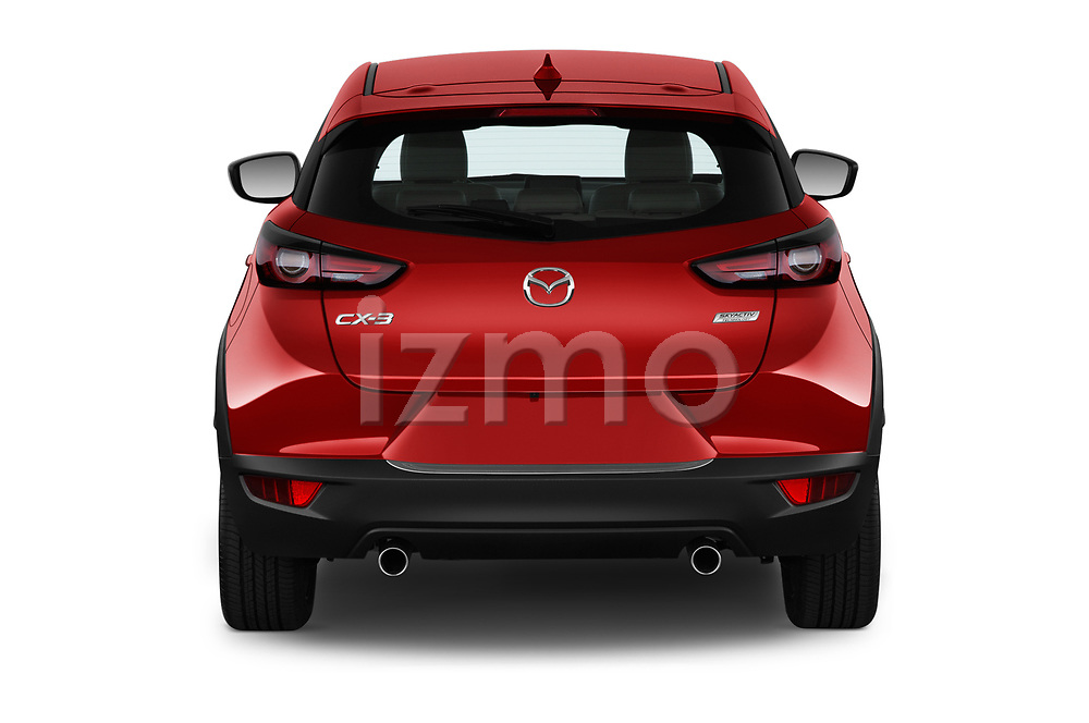 Straight rear view of 2019 Mazda CX-3 Skycruise 5 Door SUV Rear View  stock images