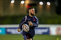 Ed HOADLEY of London Scottish warms up ahead of the Championship Cup match between London Scottish Football Club and Ealing Trailfinders at Richmond Athletic Ground, Richmond, United Kingdom on 23 November 2018. Photo by David Horn/PRiME Media Images