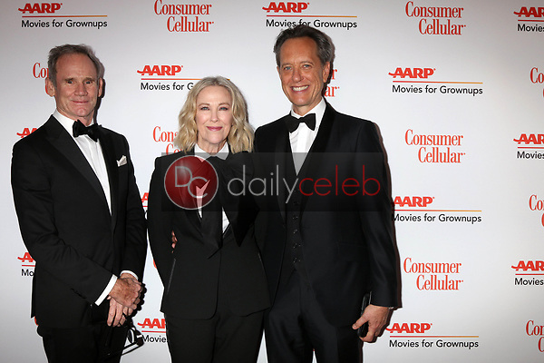 Bo Welch, Catherine O'Hara, Richard E Grant<br /> at the AARP Movies for Growups Awards, Beverly Wilshire Hotel, Beverly Hills, CA 02-04-19<br /> David Edwards/DailyCeleb.com 818-249-4998