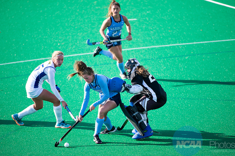 NORFOLK, VA - NOVEMBER 20:  Goalie Emmeline Oltmans (22) of the University of Delaware defends Lauren Moyer (2) of the University of North Carolina during the Division I Women's Field Hockey Championship held at the LR Hill Sports Complex on November 20, 2016 in Norfolk, Virginia.  Delaware defeated North Carolina 3-2 for the national title. (Photo by Jamie Schwaberow/NCAA Photos via Getty Images)